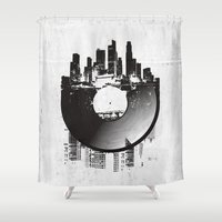 edm Shower Curtains featuring Urban Vinyl by Sitchko Igor