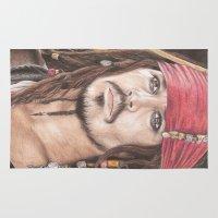jack sparrow Area & Throw Rugs featuring Captain Jack Sparrow by JadeJonesArt