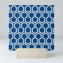 geometric blue and white Mini Art Print