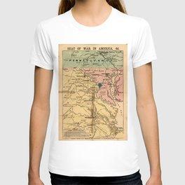 Vintage Virginia Civil War Map (1863) T-shirt