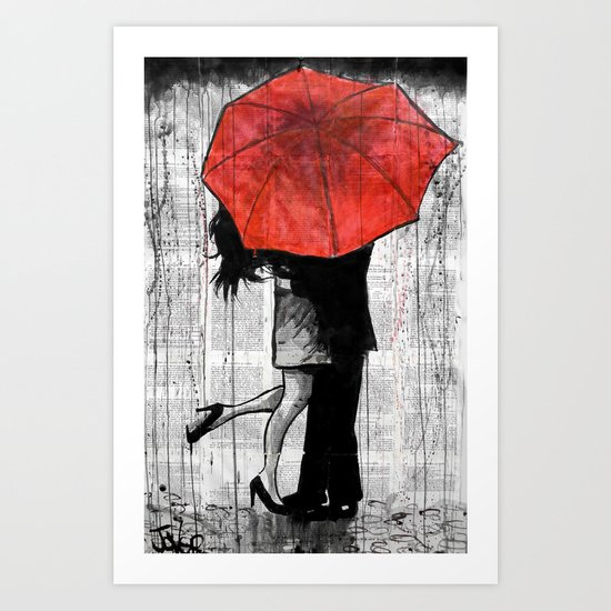 red umbrella rendezvous Art Print