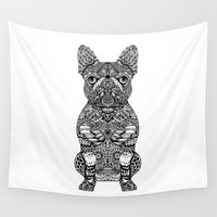 frenchie Wall Tapestries featuring Mandala Frenchie by Huebucket