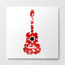 Guitar with red hearts- musical valentine gifts Metal Print