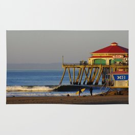 Morning Surfing Huntington Beach Pier Rug
