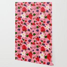 Strawberry, Blackberry and Vanilla Flower. Red Berries Pattern Wallpaper