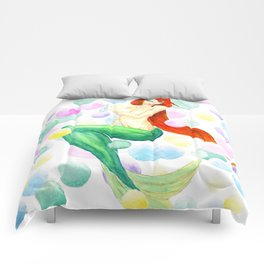 mermaid with colorful bubbles Comforters