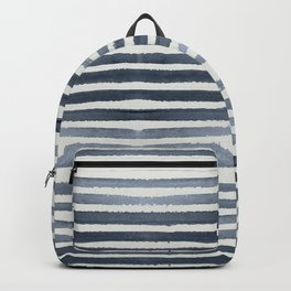 Simply Shibori Stripes Indigo Blue on Lunar Gray Backpack
