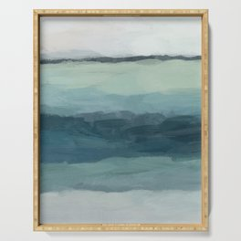 Seafoam Green Mint Navy Blue Abstract Ocean Art Painting Serving Tray
