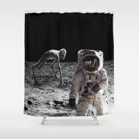 lunar Shower Curtains featuring Lunar Contact by Maioriz Home