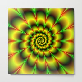 Spiral Rosette in Yellow Green and Red Metal Print