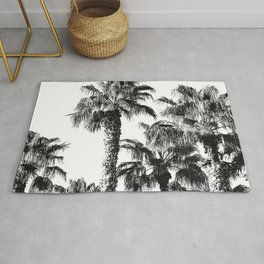 {2 of 2} Classic Palm Leaf Sky // Summer Black and White Palmtree Art Print Rug