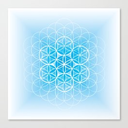 THE FLOWER OF LIFE - MANDALA ON BLUE Canvas Print