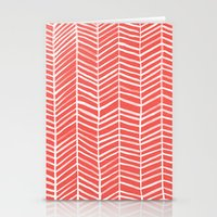 coral Stationery Cards featuring Coral Herringbone by Cat Coquillette