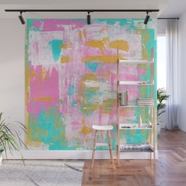 Abstract Acrylic - Turquoise, Pink & Gold Wall Mural