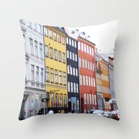 copenhagen Throw Pillows featuring Copenhagen by Anya Kubilus