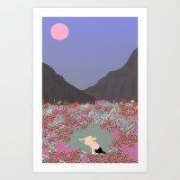 tulips Art Prints featuring Tulips by Miranda Lorikeet