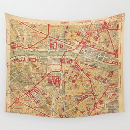 Paris City Centre Map - Vintage Full Color Wall Tapestry
