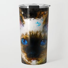 holy birma cat blue eyes splatter watercolor Travel Mug