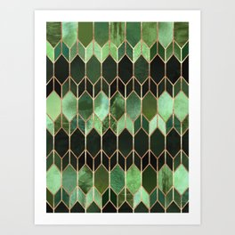 Stained Glass 5 - Forest Green Art Print