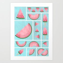 Watermelon Grids Art Print
