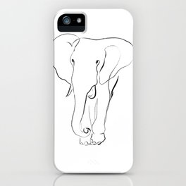 Elephant one line drawing iPhone Case