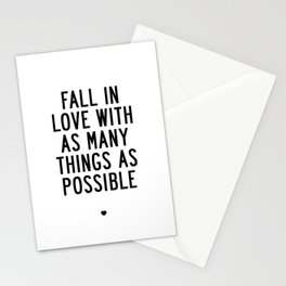 Fall in Love With as Many Things as Possible Beautiful Quotes Poster Stationery Cards