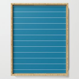 Ocean Blue with Thin White Stripes  Serving Tray