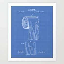 Toilet Paper Roll 1891 Patent Art Illustration Blueprint Art Print
