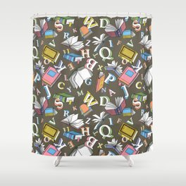 Books and Letters Shower Curtain