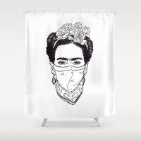 rebel Shower Curtains featuring Rebel by Diego La Diabla