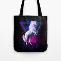 the last unicorn Tote Bags featuring The last laser unicorn by Robert Farkas