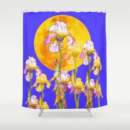 IRIS GARDEN & RISING GOLD MOON  DESIGN ART Shower Curtain