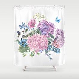 Summer Vintage Hydrangea Shower Curtain