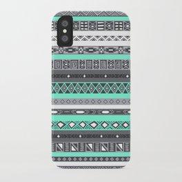 Grey Mint Tiffany Aztec Pattern iPhone iPhone Case