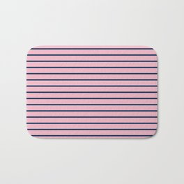 Pink and Navy Blue Horizontal Stripes Bath Mat