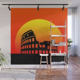 Sunset and colosseum in a red sky Wall Mural