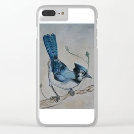 Water Colour Blue Jay Bird Clear iPhone Case