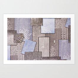 Background of pieces of denim Art Print
