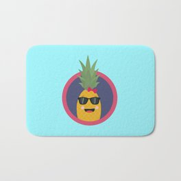 Cool pineapple with sunglasses Bath Mat