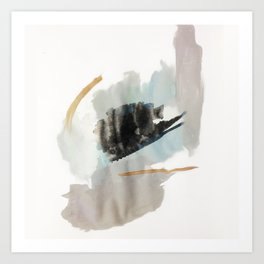 From a Distance - a minimal acrylic and ink abstract piece in blue, black, and tan Art Print
