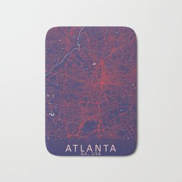 Atlanta, GA, USA, Blue, White, City, Map Bath Mat