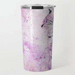 Pink Watercolor Cat Painting Travel Mug