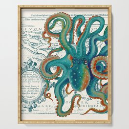 Teal Octopus Vintage Map Watercolor Serving Tray