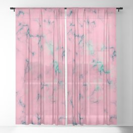 Cotton Candy Pink & Mint Marble Sheer Curtain