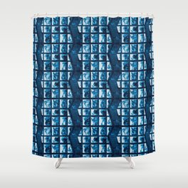 Cyanotype zig zag  Shower Curtain