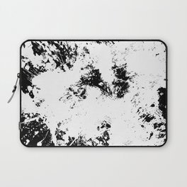 Spilt White Textured Black And White Abstract Painting Laptop Sleeve