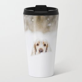 Hello - Minimalistic winter image of a dog in snow Travel Mug