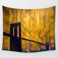 brooklyn bridge Wall Tapestries featuring Brooklyn Bridge by KINGCHANCE