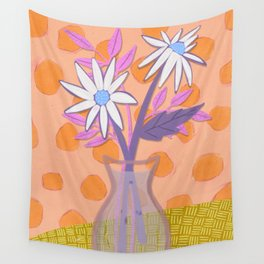 Daisies for You in Orange Wall Tapestry