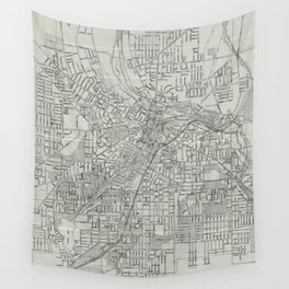 Vintage Map of Akron Ohio (1917) Wall Tapestry